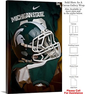 "Michigan State University Campus Football Helmet Canvas Wrap 20"" x 30"""