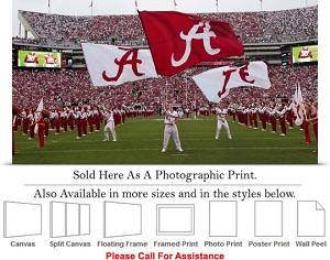 "University of Alabama Flags Fly on Game Day Sports Photo Print 30"" x 16"""