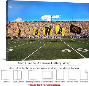 "University of Iowa Flags Fly on Football Game Day Canvas Wrap 30"" x 20"""