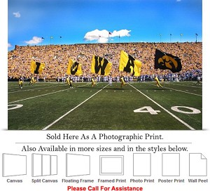 "University of Iowa Flags Fly on Football Game Day Photo Print 24"" x 16"""