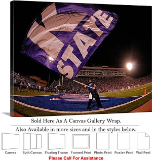 "Kansas State Flag Flies at Kansas Stadium Canvas Wrap 30"" x 23"""