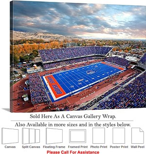 "Boise State University View of Bronco Stadium Canvas Wrap 30"" x 23"""