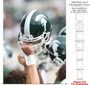"Michigan State University Campus Football Helmet-3 Photo Print 18"" x 24"""