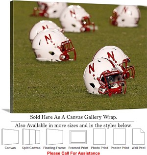 "University of Nebraska College Football Helmets Canvas Wrap 30"" x 23"""