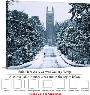 "Duke University Snow Surrounds the Duke Chapel Canvas Wrap 30"" x 23"""