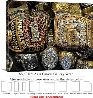 "Florida State University Football Champions Rings Canvas Wrap 30"" x 23"""