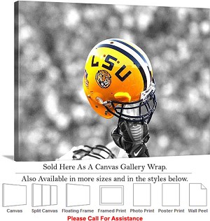 "Louisiana State University Football Helmet Raised Canvas Wrap 30"" x 23"""
