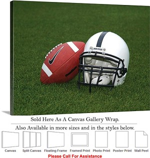 "Penn State University Football and Helmet on Field Canvas Wrap 30"" x 23"""