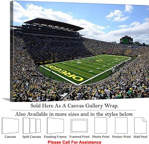 "University of Oregon Football Game Autzen Stadium Canvas Wrap 30"" x 20"""