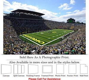 "University of Oregon Football Game Autzen Stadium Photo Print 24"" x 16"""