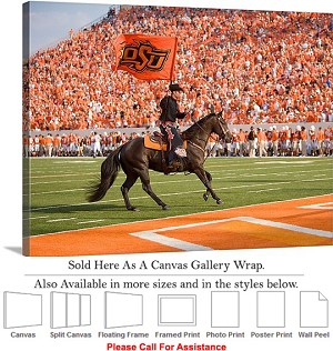 "Oklahoma State University at Boone Pickens Stadium Canvas Wrap 30"" x 23"""