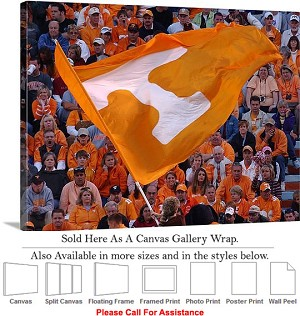 "University of Tennessee Flag Flies Neyland Stadium Canvas Wrap 30"" x 23"""