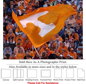 "University of Tennessee Flag Flies Neyland Stadium Photo Print 24"" x 18"""