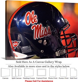 "University of Mississippi Oly Miss Football Helmet Canvas Wrap 30"" x 23"""