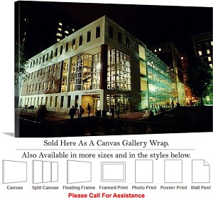 "Columbia University Lerner Building Lit at Night Canvas Wrap 30"" x 18"""