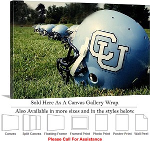 "Columbia University Football Helmets Lined Up Canvas Wrap 30"" x 20"""