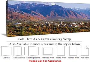 "University of Utah Aerial View of College Campus Canvas Wrap 48"" x 19"""