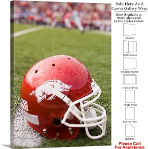"University of Arkansas Football Helmet on Field Canvas Wrap 20"" x 30"""
