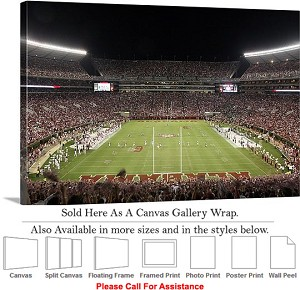"University of Alabama End Zone Football Sport Game Canvas Wrap 30"" x 20"""
