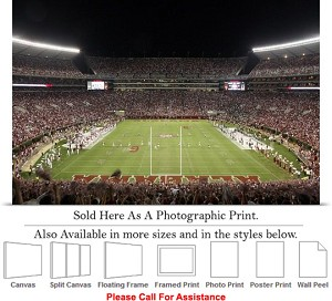 "University of Alabama End Zone Football Sport Game Photo Print 24"" x 16"""