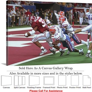 "University of Alabama Touch Down Against Gators Canvas Wrap 30"" x 22"""
