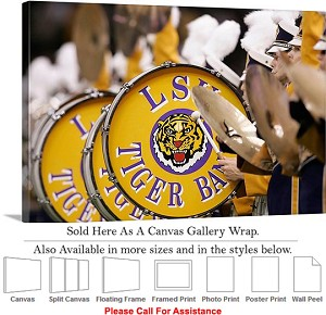 "Louisiana State University College Drum Line Up Canvas Wrap 30"" x 20"""