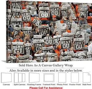 "Oklahoma State University Game Fans Cheer Beat OU Canvas Wrap 30"" x 20"""