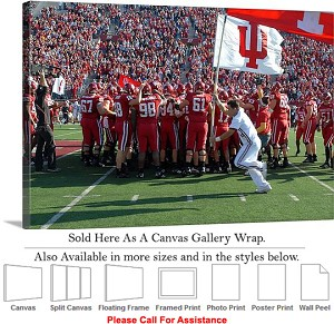 "University of Indiana Flags Fly at Football Game Canvas Wrap 30"" x 20"""