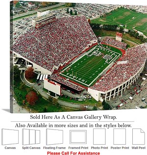 "University of Indiana View of The Rock Stadium Canvas Wrap 30"" x 23"""