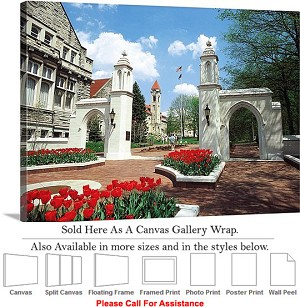"University of Indiana The College Campus Gates Canvas Wrap 30"" x 22"""