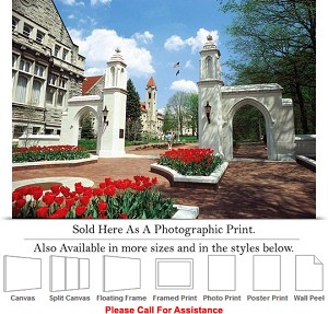 "University of Indiana The College Campus Gates Photo Print 24"" x 17"""