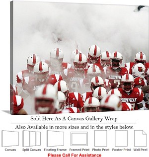 "University of Louisville Cardinal Football Players Canvas Wrap 30"" x 20"""
