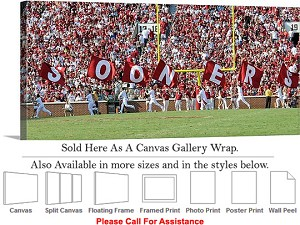 "University of Oklahoma Sooner Flags Sport Panorama Canvas Wrap 36"" x 16"""