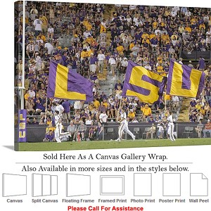 "Louisiana State University Flags Fly on Game Day Canvas Wrap 30"" x 22"""