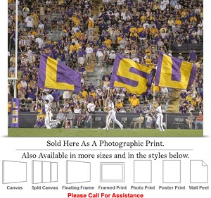 "Louisiana State University Flags Fly on Game Day Photo Print 24"" x 17"""