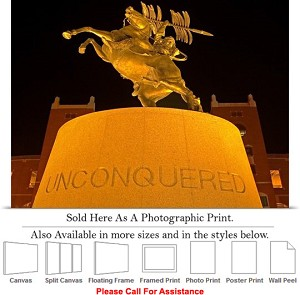 "Florida State University Campus Unconquered Statue Photo Print 24"" x 15"""