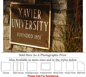 "Xavier University College Campus Embossed Plaque Photo Print 24"" x 16"""