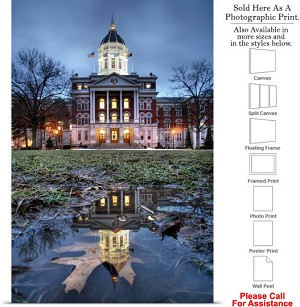 "University of Missouri Jesse Hall Reflections Photo Print 16"" x 24"""