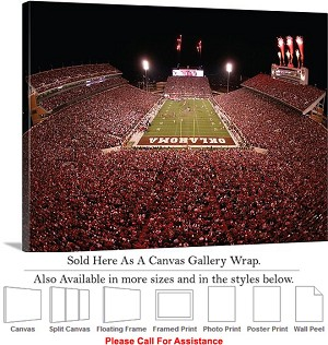"University of Oklahoma at Memorial Stadium Sport Canvas Wrap 30"" x 22"""