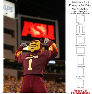 "Arizona State University Sparky and an ASU Sign Photo Print 16"" x 24"""