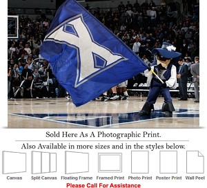 "Xavier University College Mascot with Flag Sports Photo Print 24"" x 16"""