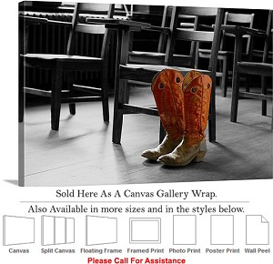 "Oklahoma State University Cowboy Boots in Class Canvas Wrap 30"" x 20"""