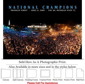"University of North Carolina Championship Night Photo Print 24"" x 18"""