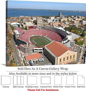 "University of Wisconsin at Camp Randall Stadium Canvas Wrap 30"" x 20"""