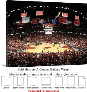 "University of Wisconsin Basketball at Kohl Center Canvas Wrap 30"" x 20"""
