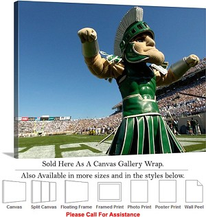 "Michigan State University Sparty the Spartan Sport Canvas Wrap 30"" x 20"""
