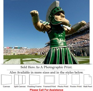 "Michigan State University Sparty the Spartan Sport Photo Print 24"" x 16"""