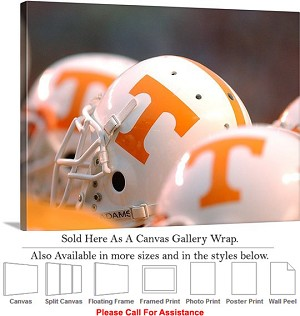 "University of Tennessee Football Helmets Lined Up Canvas Wrap 30"" x 20"""
