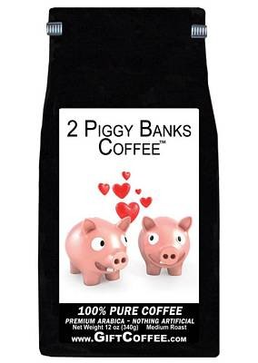 2 Piggy Banks Gift Coffee, 12 Ounce Bag of Gourmet Coffee