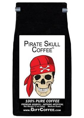 Pirate Skull Gift Coffee, 12 Ounce Bag of Gourmet Coffee